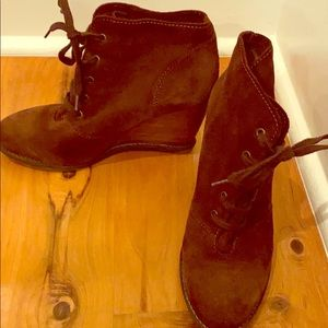 Brown suede wedge heel boots